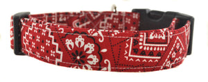 Red and White Bandana Dog Collar - Collars by Design