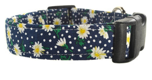 Daisies in Blue Dog Collar - Collars by Design