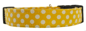 Dots in Yellow Dog Collar - Collars by Design