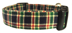 Plaid in Navy and Green Dog Collar - Collars by Design
