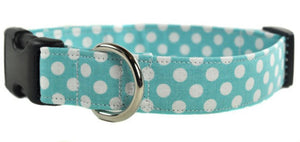 Aqua and White Polka Dot Dog Collar - Collars by Design