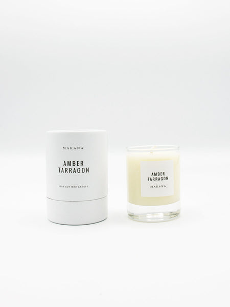Amber Tarragon 3 oz candle is  amber accented by vanilla and fennel, unveiling a heart of fresh tarragon, tuberose and basil, and finished with an accord of sensuous woods. // Hand-poured in-house in small batches using simple, clean ingredients – 100% soy wax, lead-free cotton wicking, and phthalate-free fragrances blended with pure essential oils.