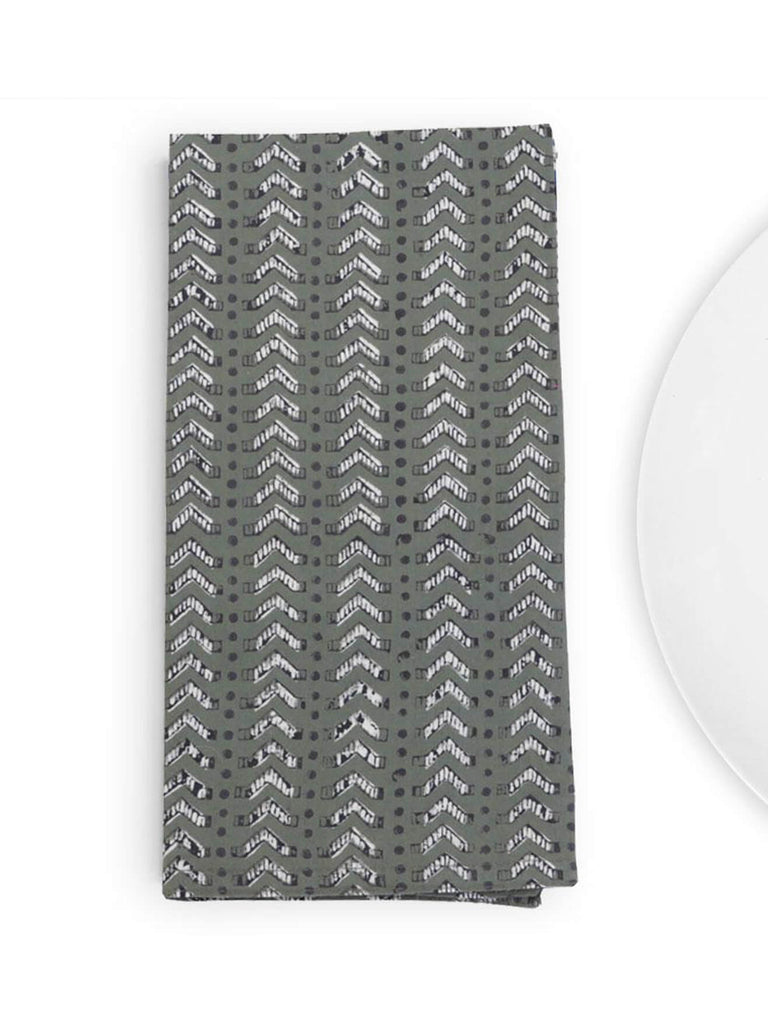 Our updated take on the classic chevron, this easy but interesting design in rich olive looks great on any table. Made with soft, sturdy cotton, these napkins feature bold and textural designs and will be a favorite at the table.