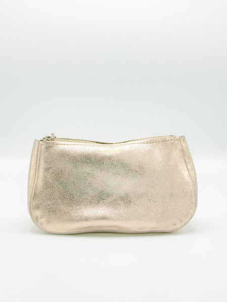 "The Fatty is a hallmark of the Tracey Tanner collection. We love in this ""Sparkle"" champagne leather. Sits upright when full. Makes a great cosmetic bag. Measures Small: 6""-7""W x 4""H x 2.5""D. Made in Brooklyn."