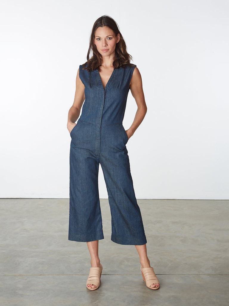 The Fine Again Jumpsuit combines the tailoring of the Prairie Underground's denim dresses and transforms it into a structured jumpsuit. High Stretch Denim with a tailored fit