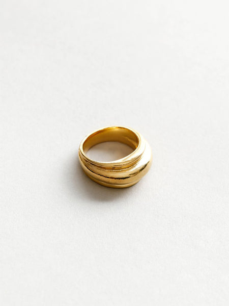Statement ring made from 14k gold plated bronze. Made with recycled metals. Handmade in Canada.