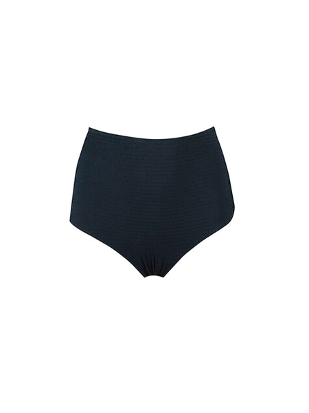High waisted bottom with medium back coverage. Made in Spain. Seersucker stretch fabric. 85% Polyamide 15% Elastane Fully lined. Hand wash cold separately