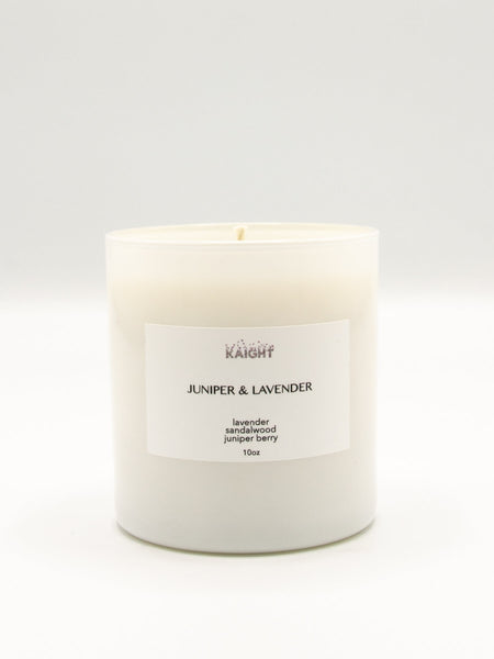 Our Juniper and Lavender Candle has top notes of Lavender and Juniper; middle notes of Bergamot and Cedar and base notes of Lemon, Clove and Grapes for a light, citrus and fresh scent. 100% soy wax with natural cotton wick. Hand poured in Brooklyn. 10 oz. with approx. 60 hour burn time. Packaged in a beautiful white box that makes these ideal for gifting.