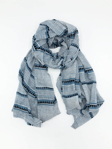 The Laya Blue Scarf is hand-block printed with non-toxic, AZO-free dyes on the softest, gauziest cotton. A fresh, easy accent piece for any outfit perfect all year long. Designed in our studio, hand-block printed in Jaipur, India