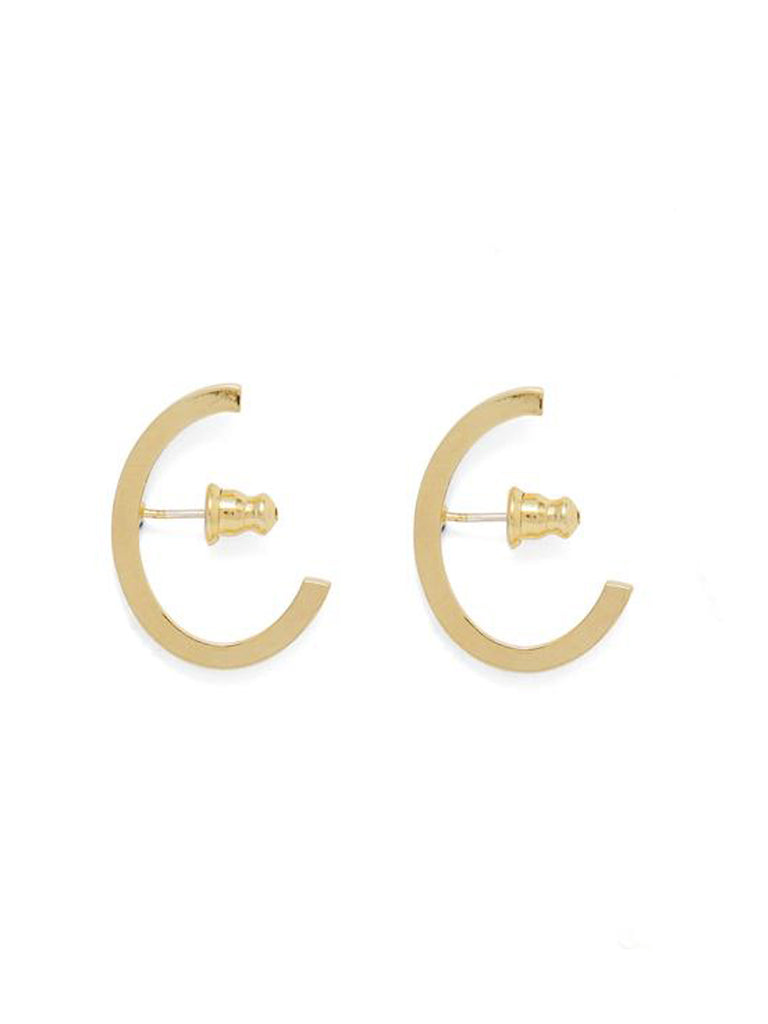 Huggie style earring in 14k Gold plated Bronze. Sterling Silver ear posts. Handmade in NY by Lady Grey. Sold as a pair