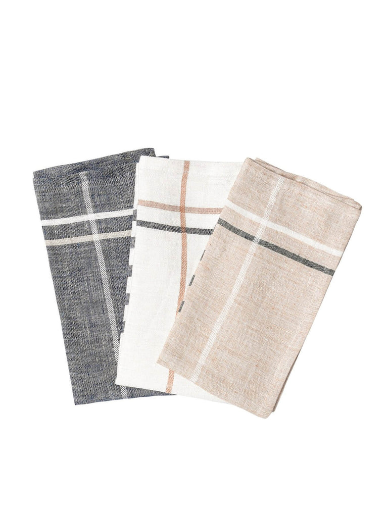 These napkins are handwoven in a wooden Malabar handloom using a time-tested technique that's been perfected over the last 500 years. This is also our lowest energy textile - no electricity is used in the entire process. Yarn is hand-spun, hand-dyed,  line-dried, and eventually hand-loomed.