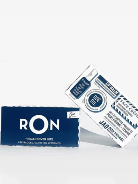 The Remain Over Night (RON) travel pack is inspired by the old PAN AM amenities kits given to overnight travelers who didn't expect to be spending the night en route. Pre-bagged and Carry On Approved