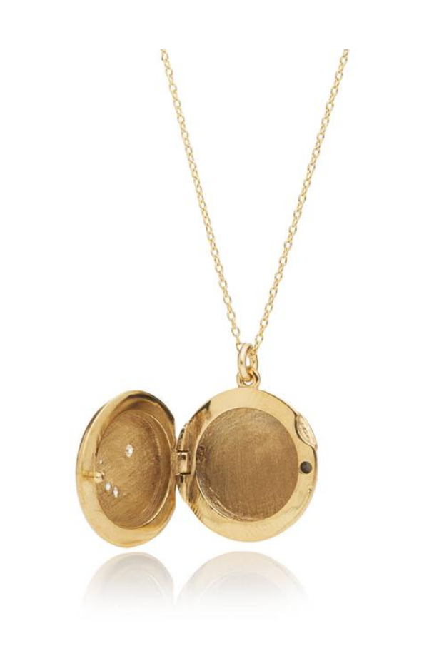 "24k heavy gold plate locket w/ hand engraved starburst and hand set with freshwater pearl. Spring ring clasp with freshwater pearl and heart detail. Made in USA 3/4"" locket on a 20"" gold-filled chain"