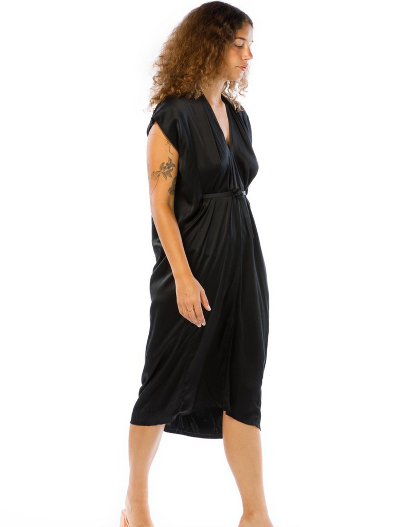 Knot Dress Silk Charmeuse Black