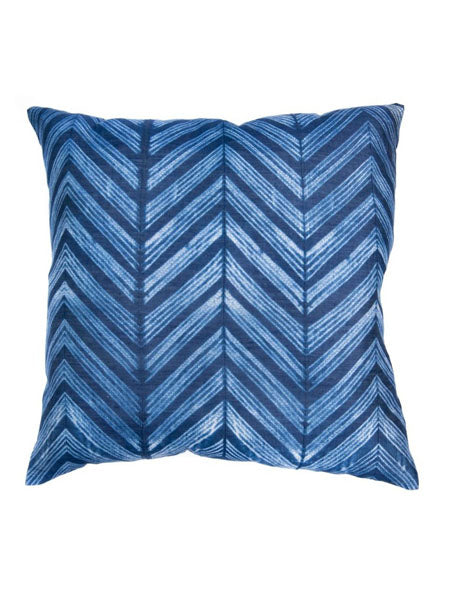 "On one side, this pillow case is made of an ancient Indian ""Chanderi"" silk fabric hand-dyed in classic Indigo using a traditional Japanese Shibori technique. On the other side is eco-friendly ""Khadi"" heirloom cotton hand-spun on a traditional spinning wheel, and then hand-woven in a loom."
