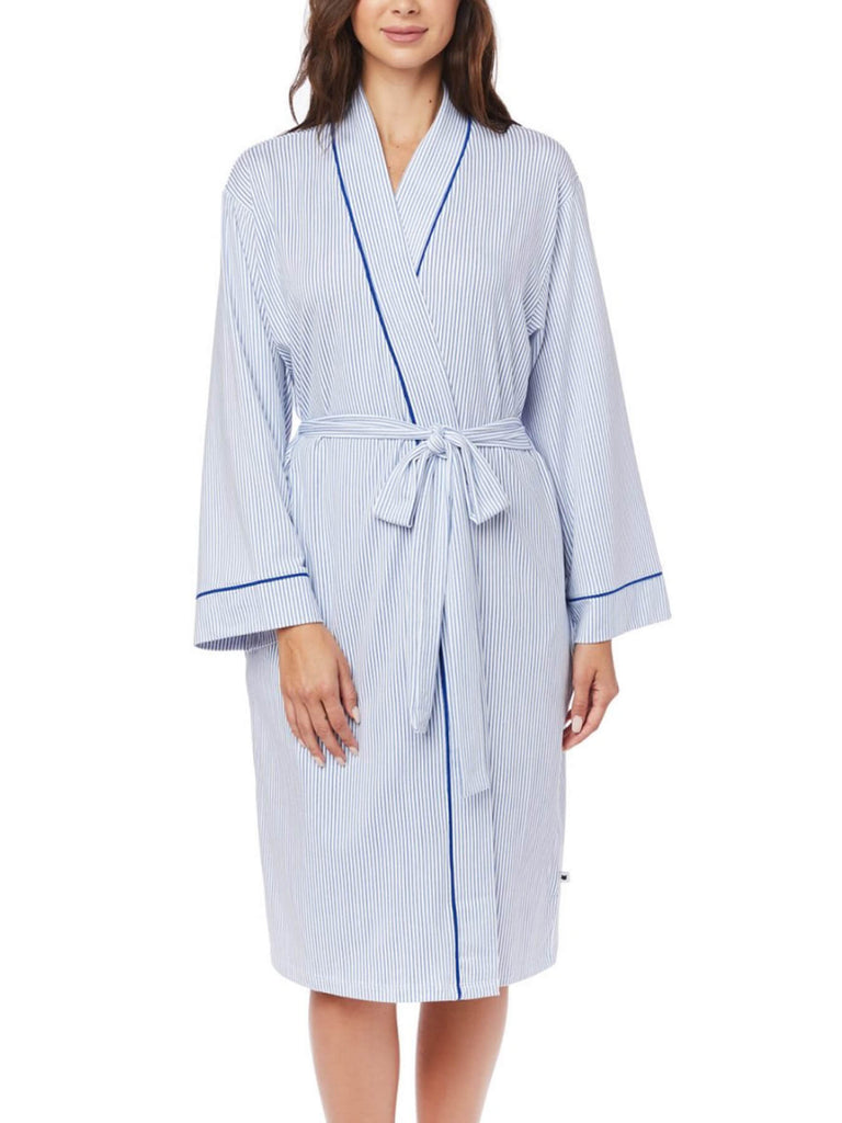 A kimono-style robe with waist belt, but in a bold, vibrant stripe. The Peruvian Pima and silky soft Modal combines to achieve the perfect drape.