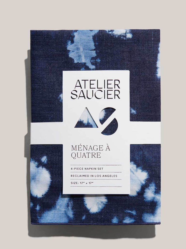 We brought back our favorite expression of the 70's and are getting far out with our softest denim linen. These tie-dye napkins are handmade in Los Angeles and finished with a clean tonal stitched edge. 100% premium reclaimed denim. Wash cold, hang dry, press with low iron while damp