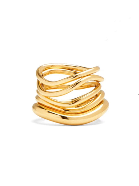 A set of 5 organic wave rings- each slightly different from the other. Wear the smallest and best fitting ring in the front to lock the rest of them on or mix them up and spread them across multiple fingers.