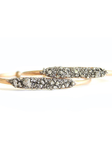 Raw Pyrite Gold Cuff Stacking Bracelet