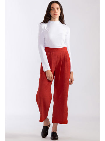 Pleated Crinkle Wide Leg Pant
