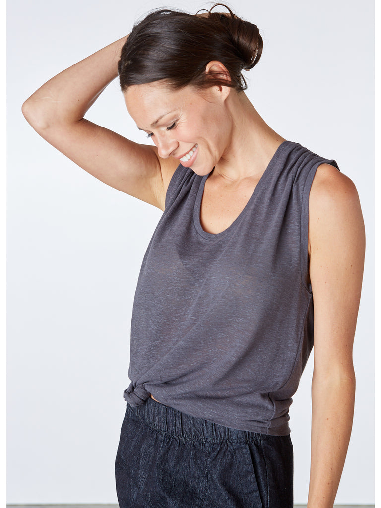 Linen Chloe Top. Loose fitting tank in an airy linen-blend fabric. Features a u-neck, shoulder gathers and an oversized silhouette. Machine wash cold. Made in USA.