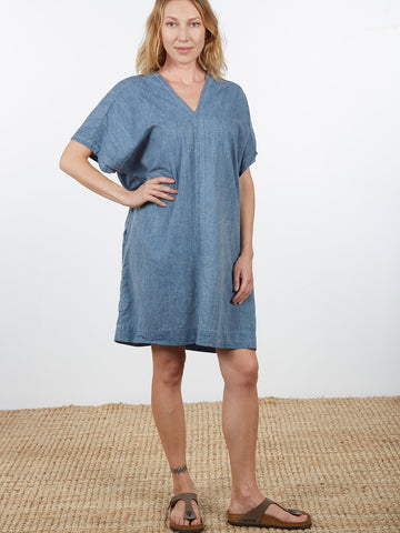 Oversized V Dress Chambray