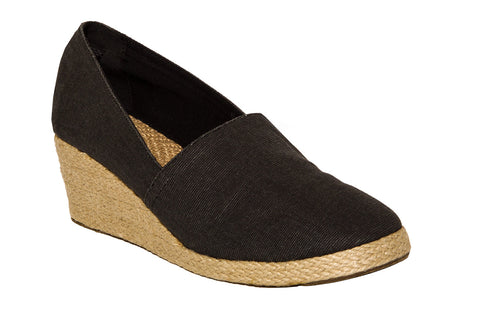 Heathered Black Wedge Espadrilles