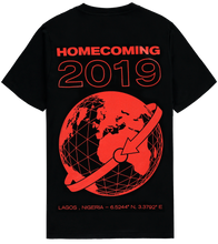 Load image into Gallery viewer, HOMECOMING GLOBE TEE BLACK