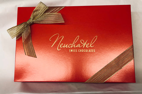 Picture of 24 Piece Red Holiday Gift Box - Filled with Truffles & Chocolates