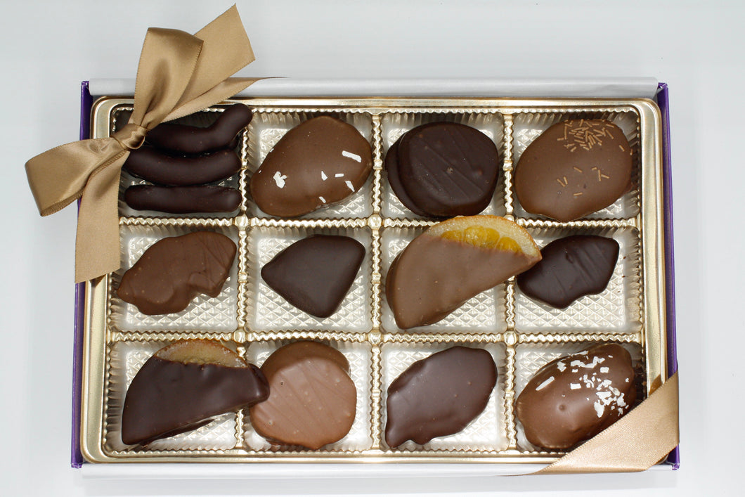Assorted Chocolate Dipped Fruit Gift Box - 12 Piece