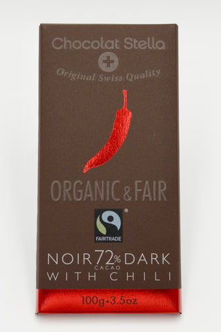 Picture of Organic Swiss Dark Chocolate Bar with Chili - 72% Cacoa
