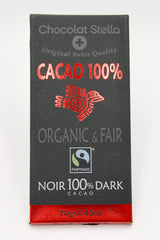 Organic Swiss Dark Chocolate Bar - 100% Cacoa