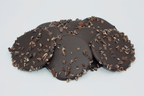 Picture of ChocoEve Dark Chocolate Disks with Cacao Nibs