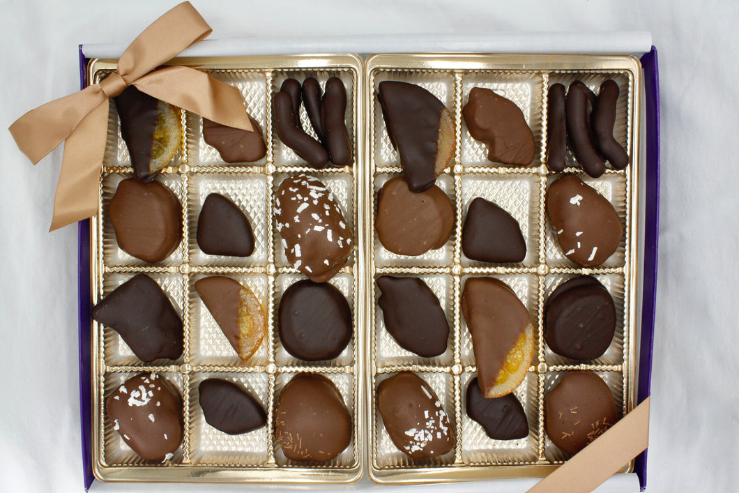 Assorted Chocolate Dipped Fruit Gift Box - 24 Piece