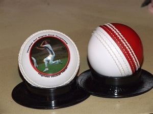 Red/white cricket ball
