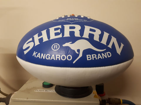 Royal blue and white Sherrin Aussie Rules Football