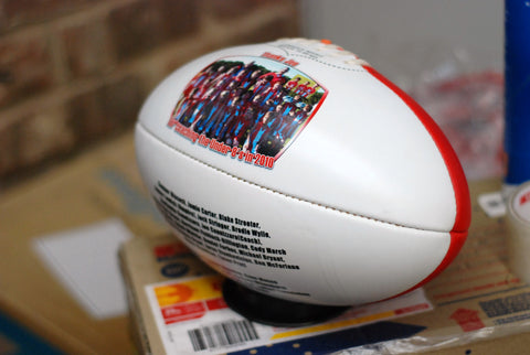 2 panel printable Classic Sherrin Aussie Rules Football IN RED ONLY