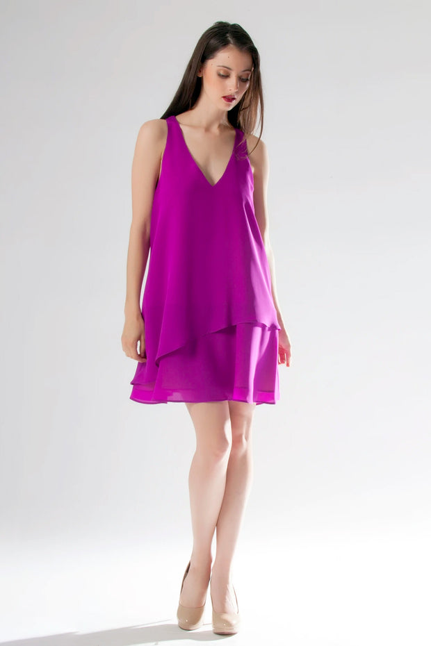 Purple Sleeveless Overlay Silk Dress