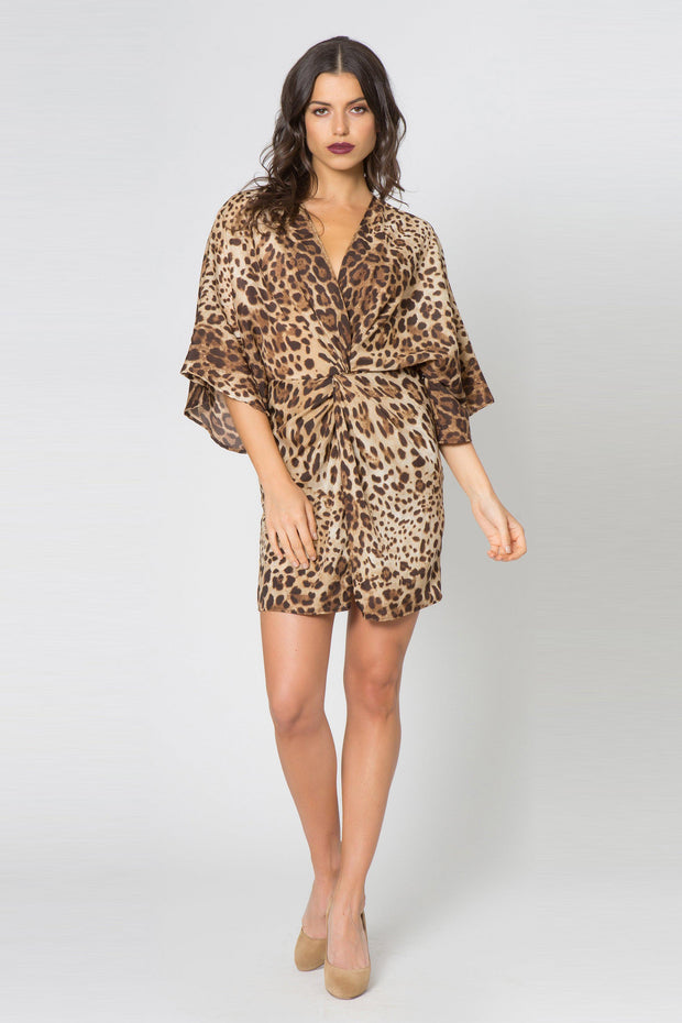 Taupe Kimono Twist Front Leopard Dress by Lavender Brown 001