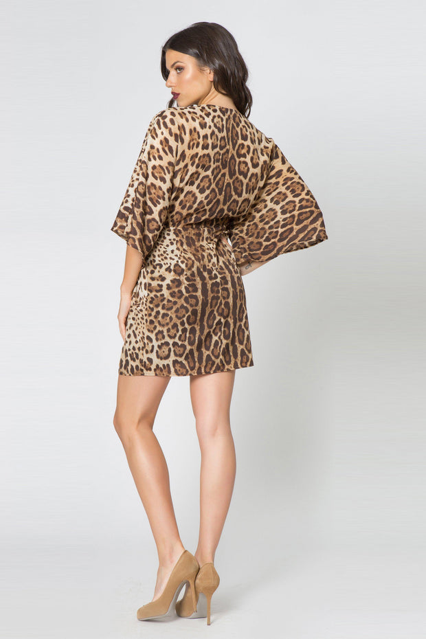 Taupe Kimono Twist Front Leopard Dress by Lavender Brown 002