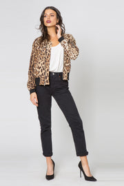 Taupe Leopard Blouson Jacket by Lavender Brown 001