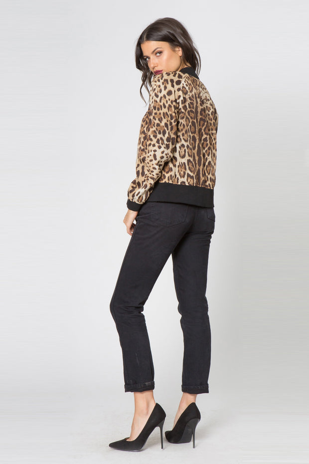 Taupe Leopard Blouson Jacket by Lavender Brown 002