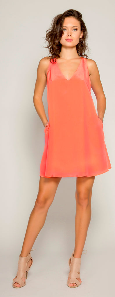 Watermelon Sleeveless Silk Shift Dress by Lavender Brown - 1