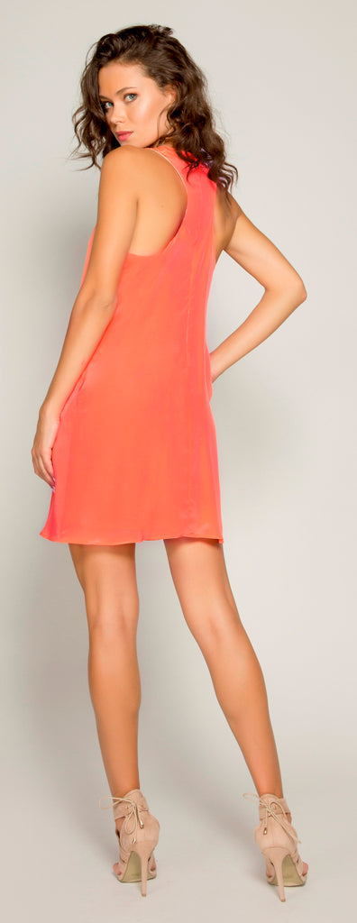 Watermelon Sleeveless Silk Shift Dress by Lavender Brown - 2