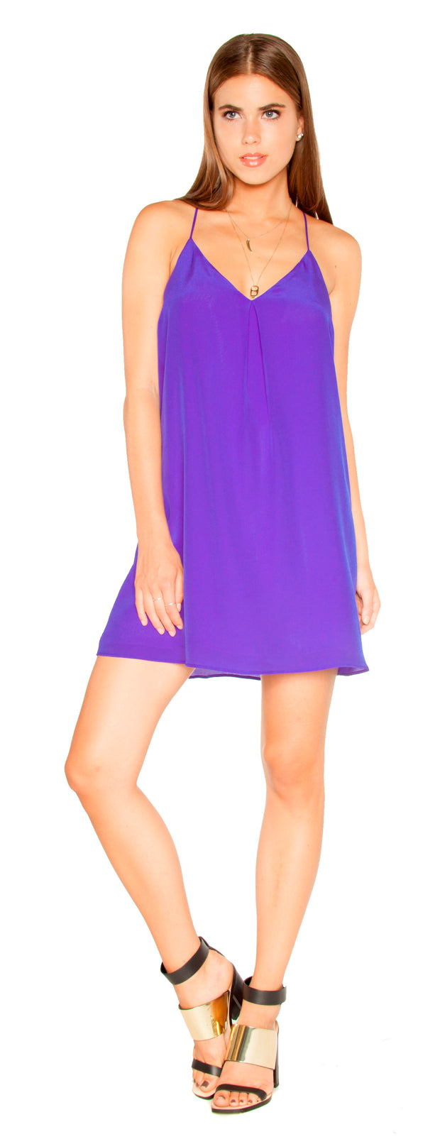 Turin Blue Sleeveless Silk Shift Dress by Lavender Brown 001