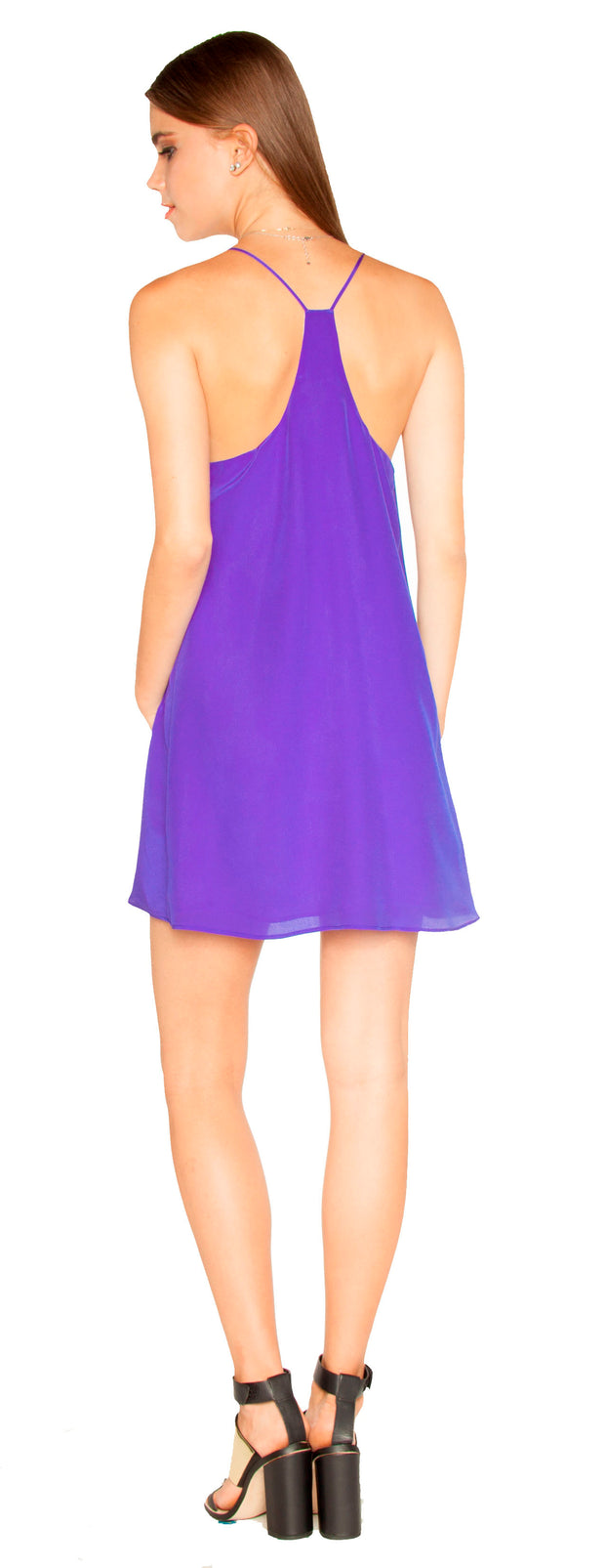 Turin Blue Sleeveless Silk Shift Dress by Lavender Brown 002