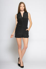 Black Sleeveless Silk Romper by Lavender Brown 001