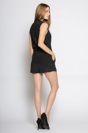 Black Sleeveless Silk Romper by Lavender Brown 002