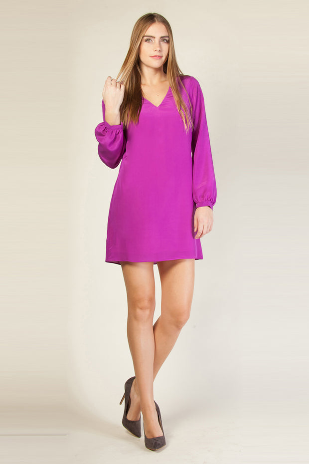 Purple Long Sleeve Silk Shift Dress by Lavender Brown 001