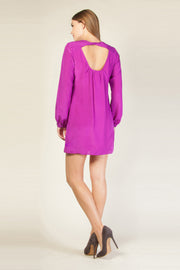 Purple Long Sleeve Silk Shift Dress by Lavender Brown 002
